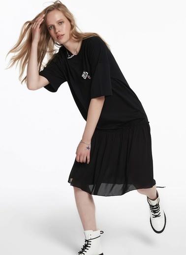 Twist Kumaş Mixli Sweat Elbise Siyah
